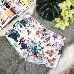 Free People Floral Distressed Frayed Denim Shorts